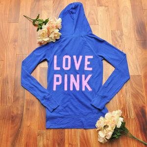 Victoria's Secret Love Pink Blue Hoodie Size Small
